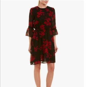 ABS Collection Black and Red Floral Dress